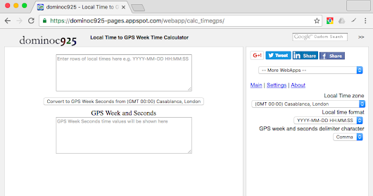 WebApp for converting local date time to GPS week and seconds of week