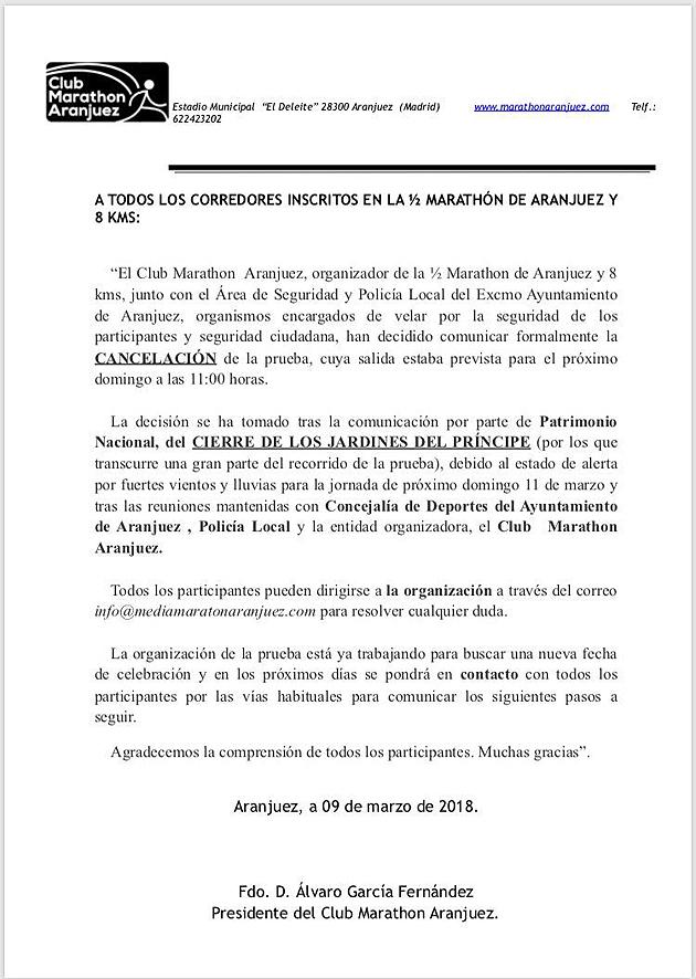 Medio Maratón Aranjuez suspendido cancelado aplazado