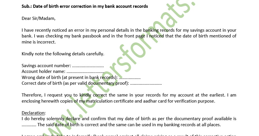 Date of Birth Change in Bank Account - Formal Letter to Bank