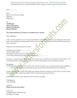 how to write a letter to bank for change of date of birth