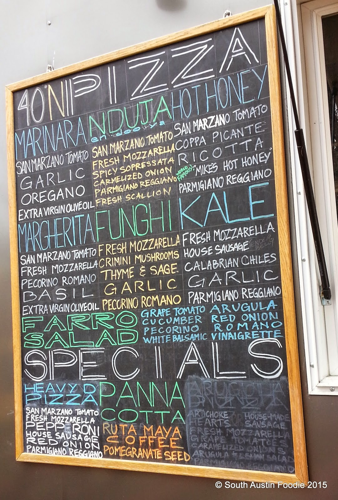 40 North pizza menu board