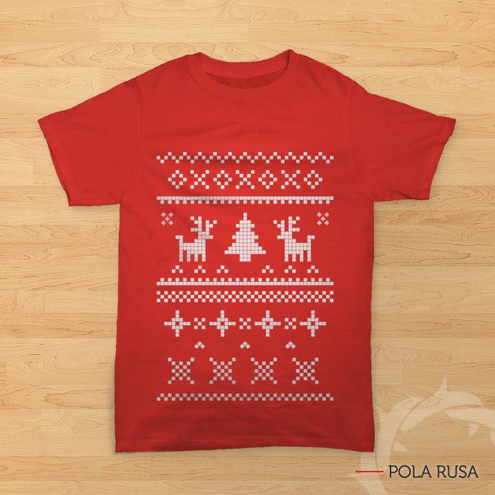 kaos natal bergambar pola rusa dan pohon natal