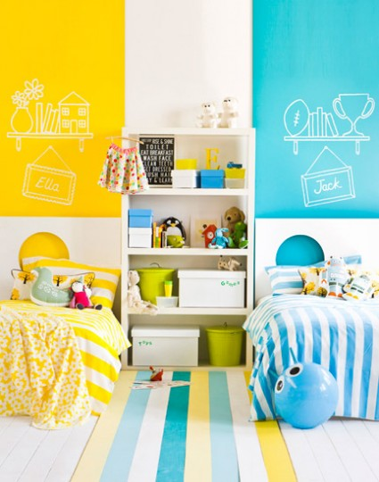 غرف نوم اطفال بسريرين منفصلين للمساحات الصغيرة ديكور بلس