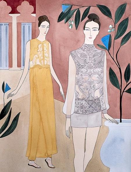 Kelly Beeman arte | dibujo en acuarela de mujeres elegantes estilo fashionistas