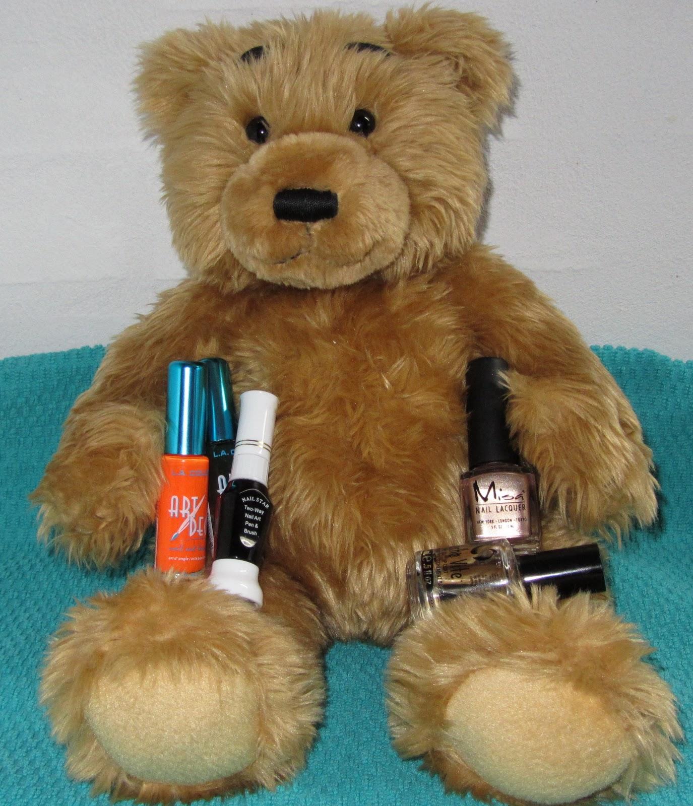 Bear Stripers teddy bear with plaid nails - bamse med sutsko/plaid negle