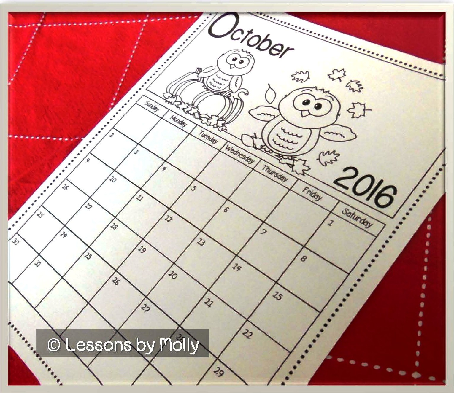 Calener October: Lessons By Molly: Free School Calendar