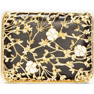 ALEXANDER MCQUEEN Black Gold Floral Bible Book Clutch