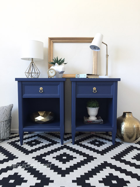 diy, nightstand makeover, nightstand before and after, DIY chalk paint, refinished nightstand, painted navy blue nightstands