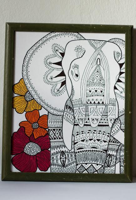 Zendoodle Elefant | Meditatives Zeichnen | DIY, Deko und Interior | Wandgestaltung