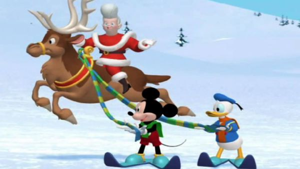 MICKEY MOUSE: Everybody hold the scarf
