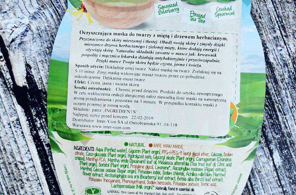 Oczyszczająca maska do twarzy z miętą i drzewem herbacianym (7th Heaven Tea Tree Sheet Masque)
