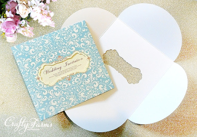 Turquoise Die-Cut Pocket Wedding Cards with Rhinestone