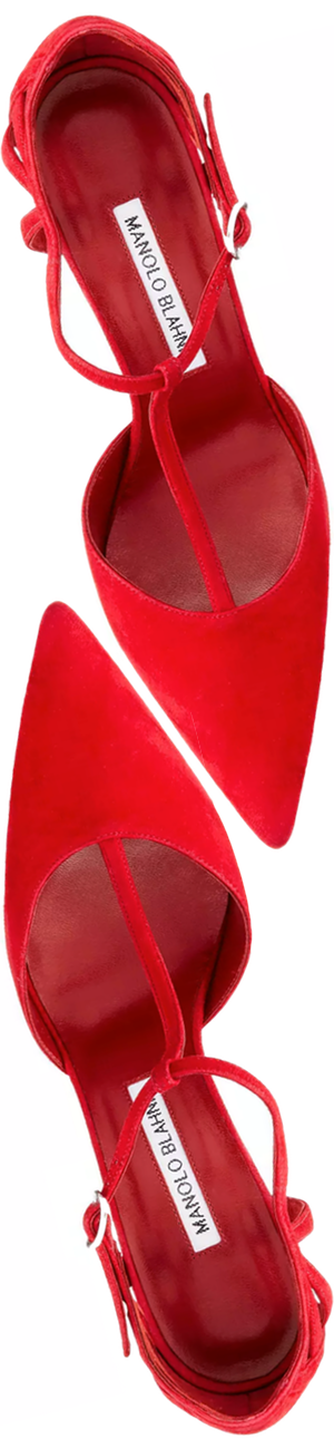 Manolo Blahnik Getta Suede T-Strap 105mm Pump, Red
