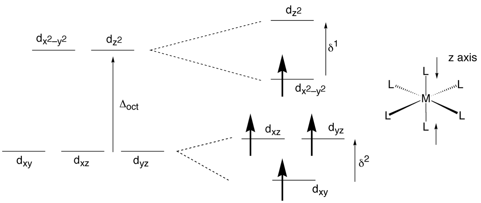 The Chemistry Of D And F Block Absorption Spectrum Complex Orbital Diagram Tetragonal Compression