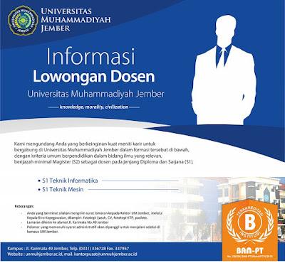 lowongan dosen, dosen tetap, dosen informatika, universitas muhammadiyah jember, september 2017