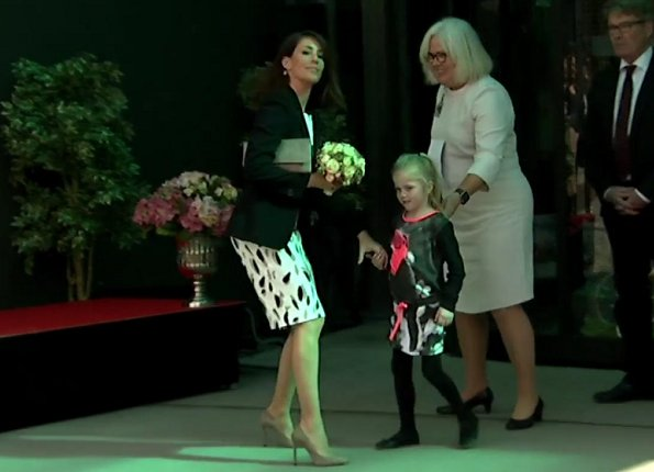 Princess Marie wore Charlotte Sparre Pearl skirt, Zara wool jacket, Ganni Flower Print Midi Skirt, Gianvito Rossi pumps