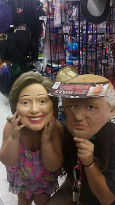 party city pictures, family fun, political halloween costumes, funny costumes, hillary and trump together