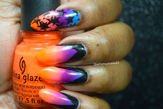 Bright Gradient & Stamping Nail Art