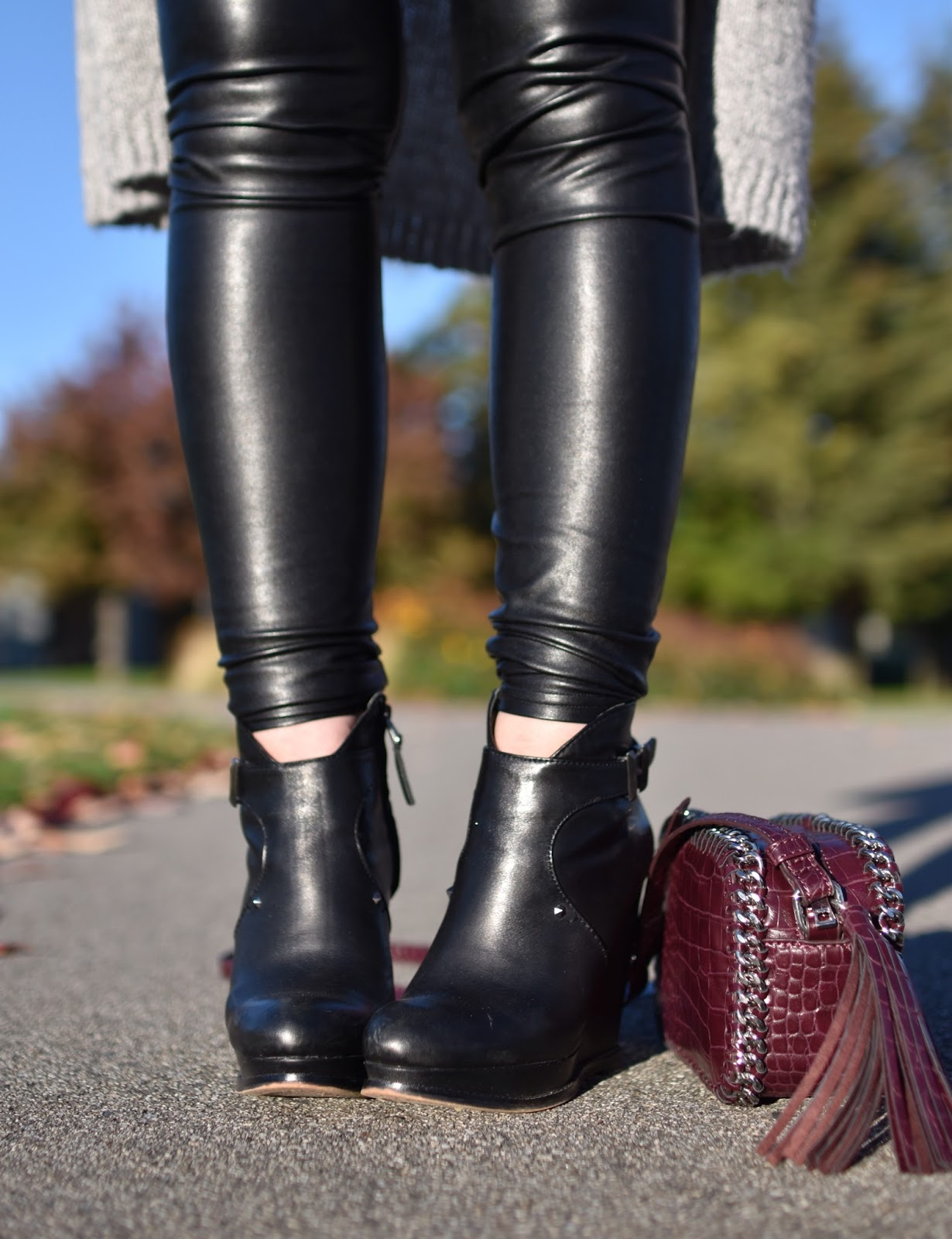 Outfit inspiration c/o Monika Faulkner - vegan leather leggings, Sam Edelman wedge booties, long cardigan, Forever 21 cross-body bag