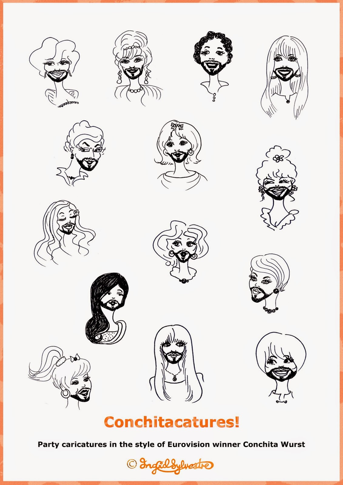 Conchitacatures! 'On-the-spot' party caricatures by UK artist Ingrid Sylvestre celebrating Eurovision winner Conchita Wurst