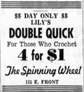 Lily Double Quick Mercerized Crochet Cotton Sales Ad