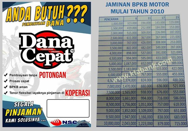 Tabel Angsuran NSC Finance 2019 Jaminan BPKB Motor - KTA ...
