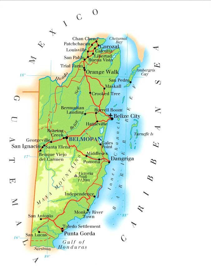 Belize | Mapas Geográficos de Belize
