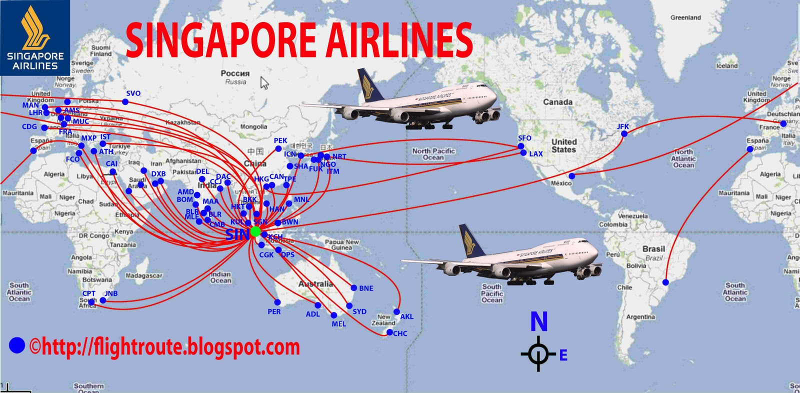 Singapore Airlines Routes Map