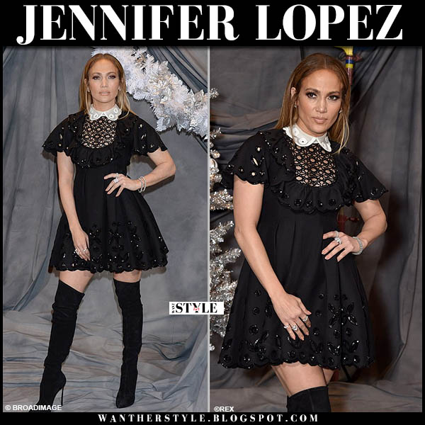 Jennifer Lopez in black mini dress valentino with white collar and black over the knee casadei boots red carpet party look december 9