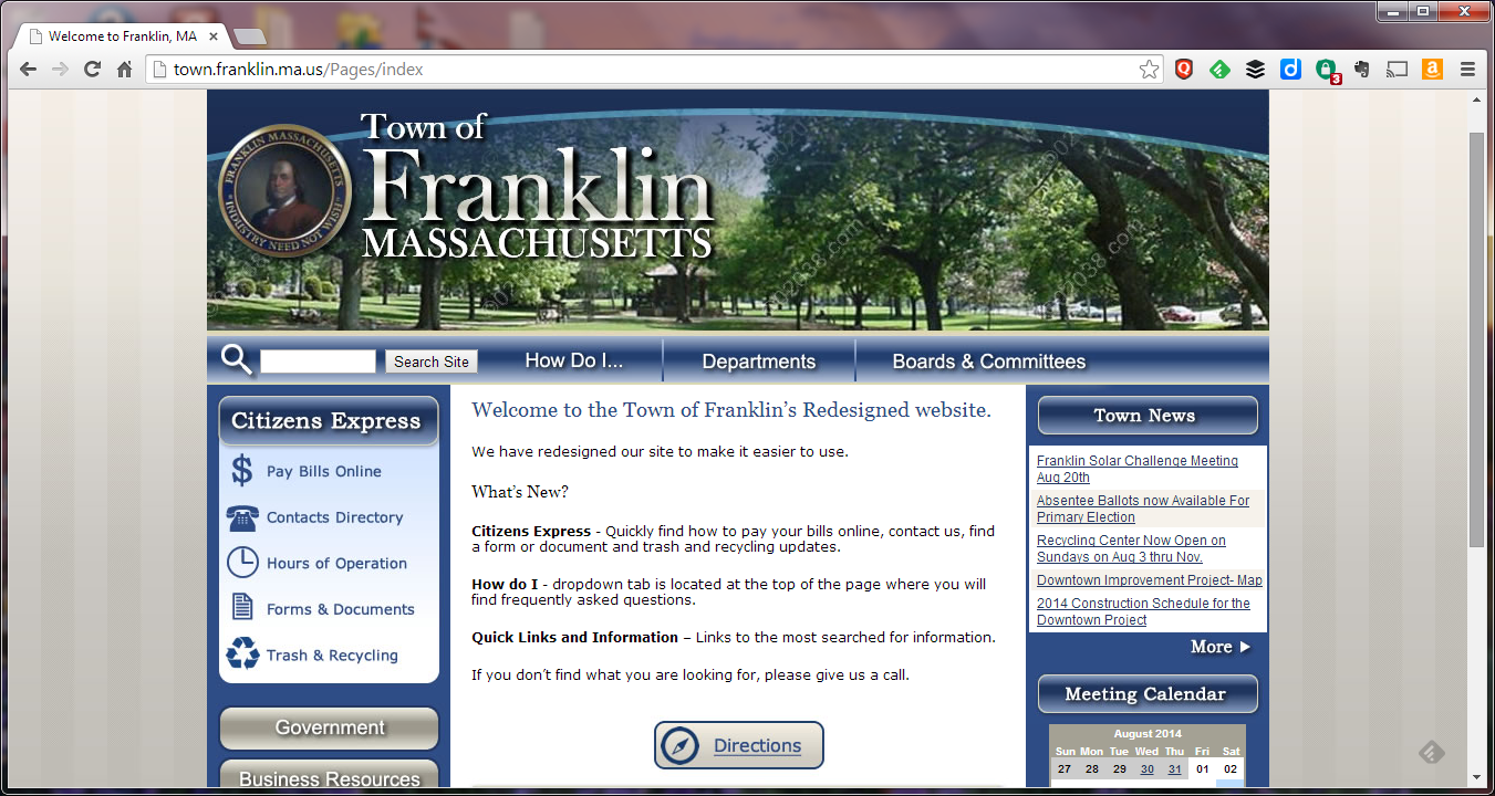 re-designed Franklin website