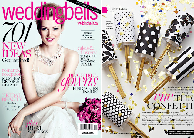 push pop containers from Creative Bag used in diy wedding project in Weddingbells magazine
