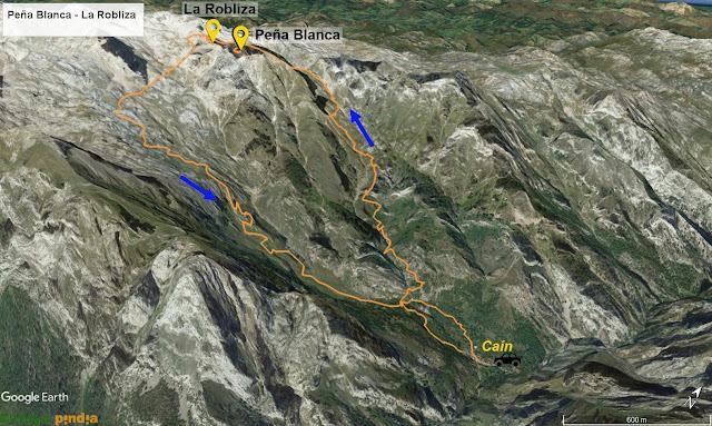 Map señalizado con la ruta a Peña Blanca y La Robliza en Picos de Europa
