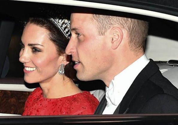 Duchess Catherine Kate Middleton wore Jenny Packham sparkling cap-sleeve for Diplomatic Corps dinner. Diamond Tiara, Diamond earrings