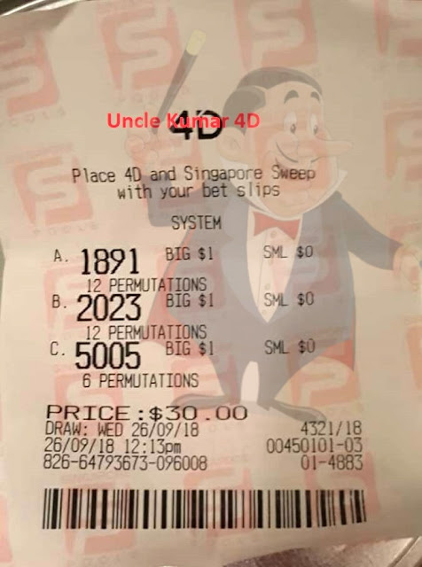 Uncle Kumar 4D Power Master wins consolation in Singapore 4D Lottery Singapore Pools SGP prize with forecast,winning tips.
