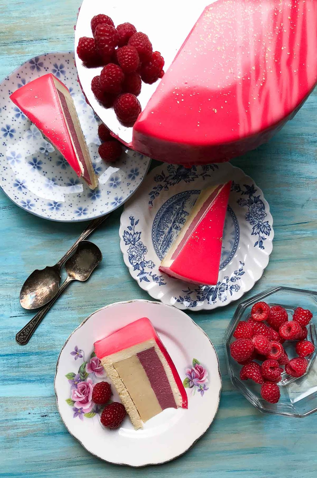 Delicious Honey, Raspberry and White Chocolate Bavarois entremet photo
