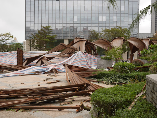 covered walkway destroyed by Typhoon Hato at the Midtown in Zhuhai