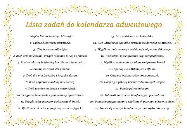 Kalendarz adwentowy  DIY + lista zadań DO DRUKU.