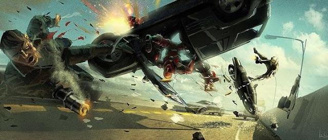 Diseños para escenas de Deadpool por Andrew Leung