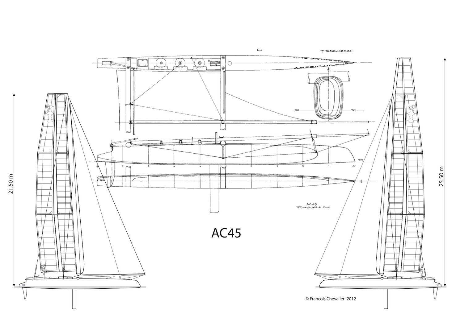 Chevalier Taglang America S Cup Ac45 Plans Ac45 Lines
