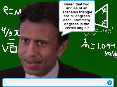 The Wonderful 1237 math problems Bobby Jindal isosceles triangles vertex angle degrees