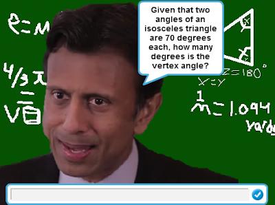 The Wonderful 1237 math problems Bobby Jindal isosceles triangles vertex angle degrees