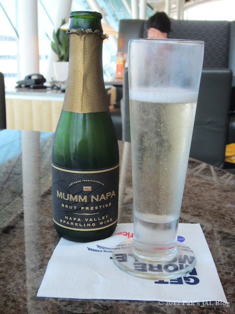 Sparkling wine at LAX Admirals Club