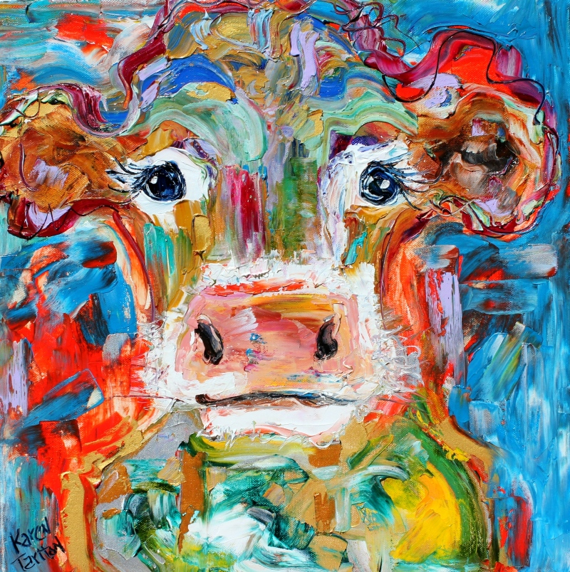 Karen tarlton original oil paintings farm animals cow for Animal oil paintings