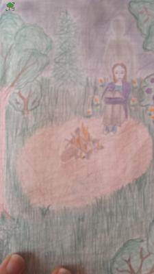 Opieka albo wariacja syberyjska, fioletowy płomień, dziewczyna siedząca przy ognisku, duch opiekuńczy