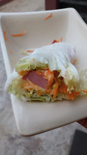 Chinese cabbage sausage and avocado wrap