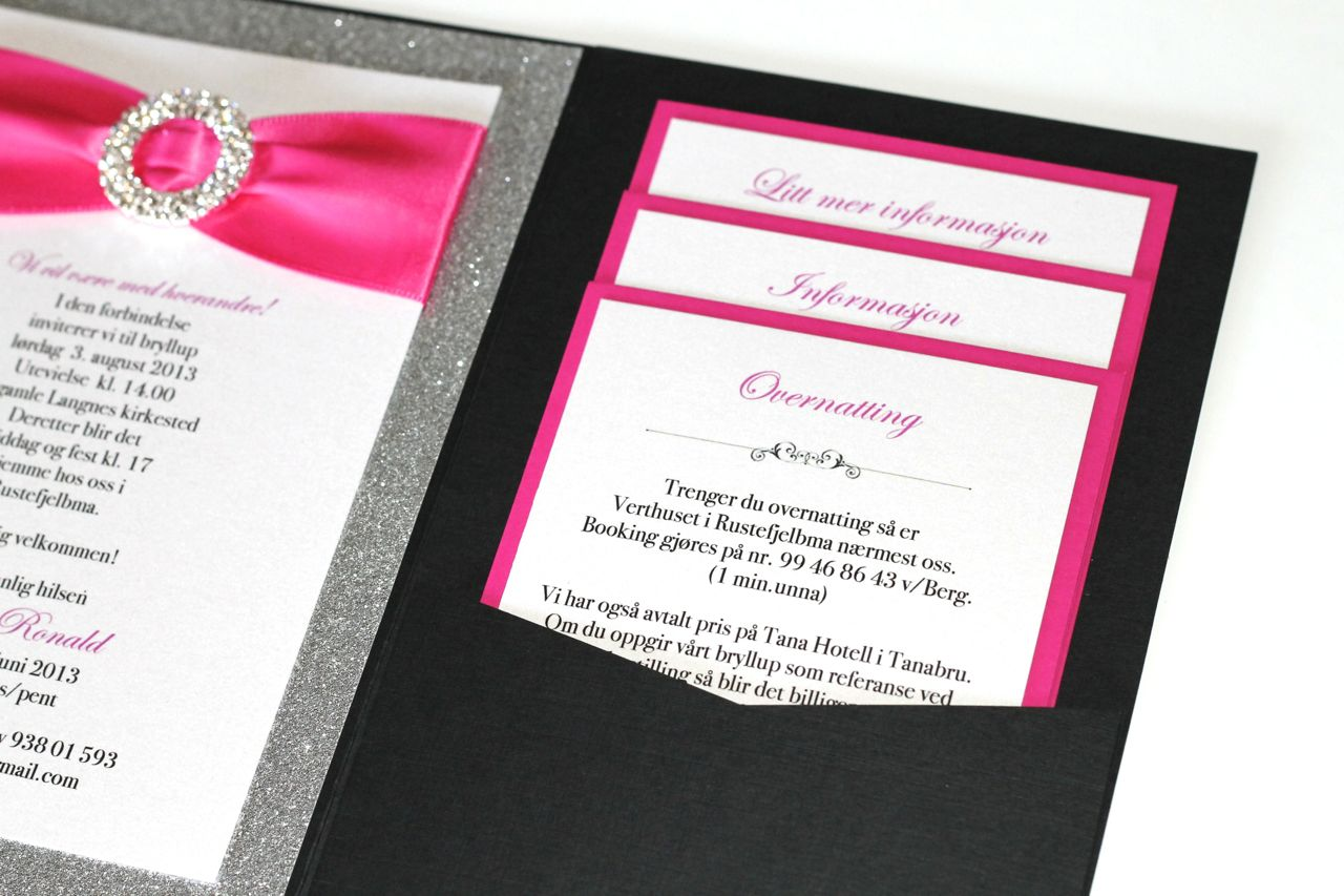 Embellished Paperie Blog Silver Glitter Hot Pink And Black Wedding Invitations