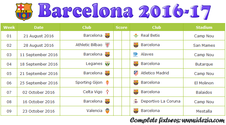 Download FC Barcelona Schedule Full Fixture File PDF - Schedule with Score Coloumn