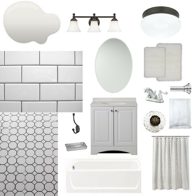A white, vintage-inspired bathroom idea board that would fit perfectly in an older home. Originally created for a home built in the 1960's, this bathroom has a classic feel that would work with many different styles, from farmhouse to retro.