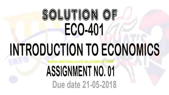 ECO401 Assignment No 1 Spring 2018