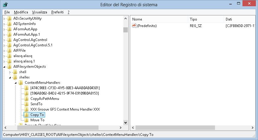 Editor di Registro - Modifica menu contestuale